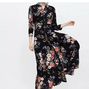 ZARA BLACK MAXI LONG FLORAL PRINT SHIRT DRESS.